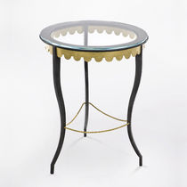 Traditional side table / glass / wrought iron / leather