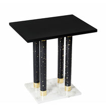 Contemporary side table / marble / brass / rectangular