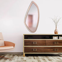 Wall-mounted mirror / contemporary / leather