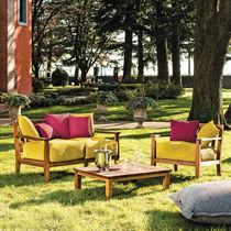 Contemporary sofa / garden / fabric / iroko