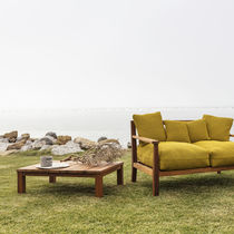 Contemporary coffee table / iroko / rectangular / garden