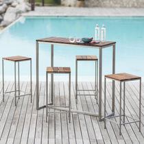 Contemporary bar stool / stainless steel / oiled wood / contract