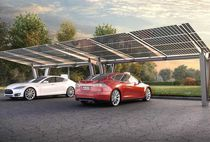 Steel carport / commercial / with integrated photovoltaic panel