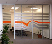 Removable partition / aluminum / steel / glazed