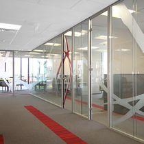 Removable partition / aluminum / glazed / double-glazed