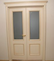 Indoor door / swing / solid wood / semi-glazed