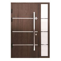 Entry door / swing / wood veneer / stainless steel