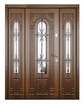 Entry door / swing / solid wood / stainless steel