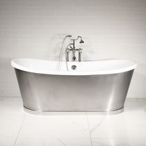 Freestanding bathtub / oval / acrylic / stainless steel