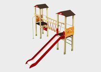 Plastic play structure / wooden / galvanized steel / textile