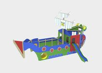 Plastic play structure / wooden / stainless steel / textile