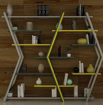 Modular shelf / contemporary / steel / glass