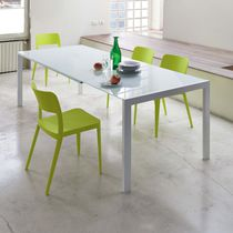 Contemporary dining table / lacquered wood / glass / steel