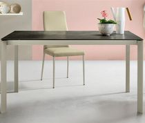 Contemporary dining table / lacquered wood / crystal / aluminum