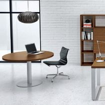 Contemporary boardroom table / metal / melamine / round