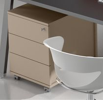 Metal office unit / wooden / melamine / 3-drawer