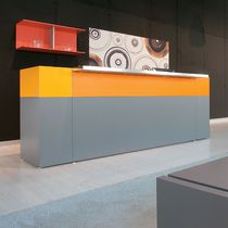 Corner reception desk / wooden / glass / melamine