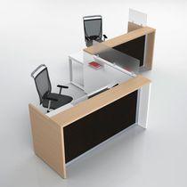 Corner reception desk / wooden / metal / melamine