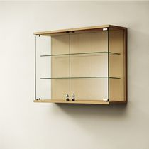 Contemporary display case / wall-mounted / glass / wooden