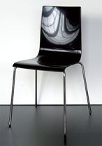 Contemporary visitor chair / with armrests / stackable / recyclable