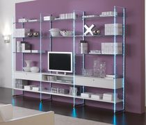 Contemporary shelf / wooden / glass / commercial