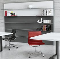 Wall-mounted shelf / contemporary / aluminum / glass