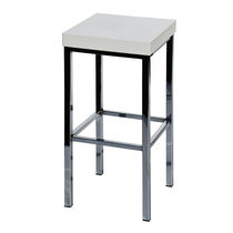 Contemporary bar stool / steel / synthetic leather / commercial