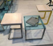 Contemporary table and chair set / wooden / metal / glass