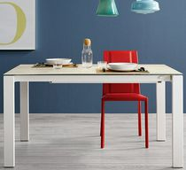 Contemporary dining table / lacquered wood / glass / aluminum