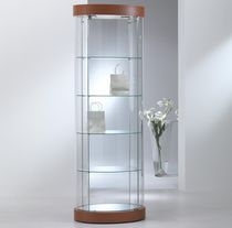 Contemporary display case / floor-standing / glass / illuminated