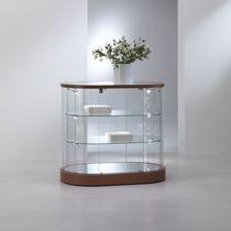 Contemporary display case / floor-standing / glass / oak