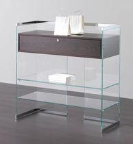 Contemporary display case / floor-standing / glass / wooden