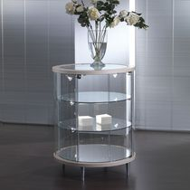 Contemporary display case / floor-standing / glass / oak