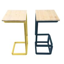 Contemporary stool / wooden / steel / commercial