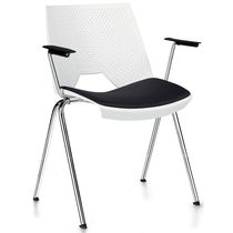 Contemporary visitor chair / with armrests / steel / polypropylene