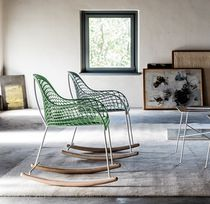 Contemporary chair / rocker / leather / steel