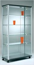 Contemporary display case / floor-standing / glass / aluminum