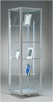 Contemporary display case / floor-standing / glass / aluminum
