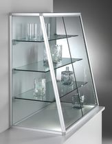 Contemporary display case / countertop / glass / aluminum