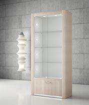 Contemporary display case / floor-standing / glass / wooden