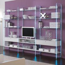 Contemporary TV wall unit / wooden / glass / modular