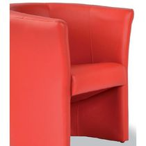 Contemporary visitor armchair / leather / red