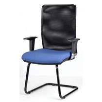 Contemporary visitor chair / with armrests / cantilever / fabric