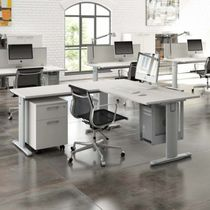 Wooden desk / contemporary / commercial / with storage