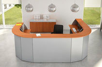 Modular reception desk / semicircular / wooden / metal