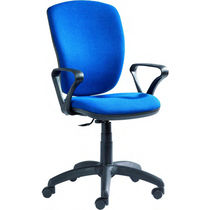 Contemporary office chair / on casters / leather / metal