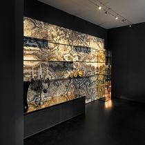 Backlit tile / indoor / wall / onyx