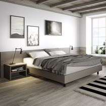 Double bed / contemporary / with headboard / lacquered wood