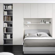 Double bed / contemporary / with in-base storage / lacquered wood