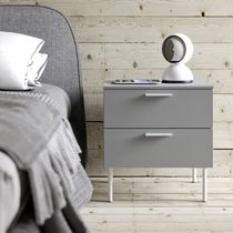 Contemporary bedside table / lacquered wood / rectangular / with drawer